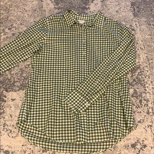 Green gingham women's J. Crew button up